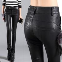 2018 Spring Autumn Women New High Waist Slim Faux Fur Leather Pencil Long Trouser Female Casual PU Leather Pants Leggings D82