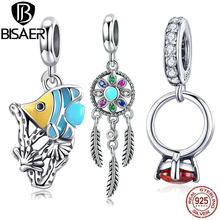 BISAER Pendant 925 Sterling Silver Bohemia Feather Dream Catcher Tropical Donuts Charms for Women Bracelet and Necklace HSC961(China)