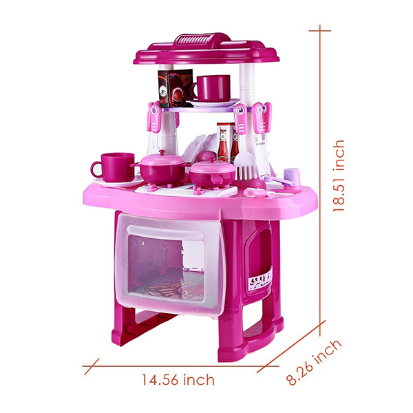 Kids Kitchen Cooking Pretend Role Play Toy Set with Light Sound Effect FJ88