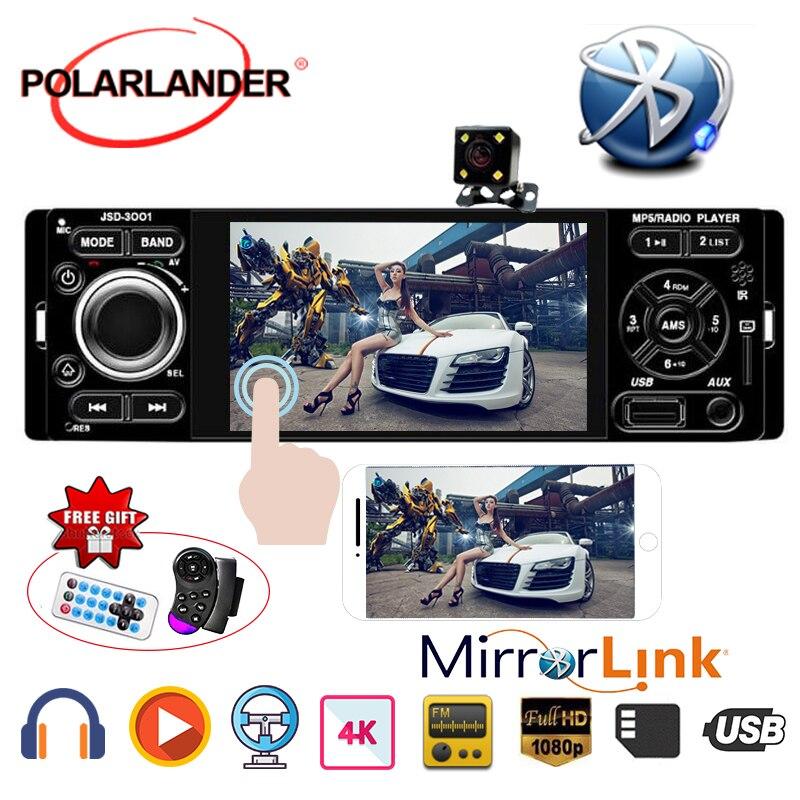 Polarlander rádio do carro 1din 4 polegada autoradio tela sensível ao toque de áudio espelho ligação estéreo bluetooth câmera visão traseira usb AUX-IN player