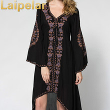 2018 Long Dress Women Vintage Ethnic Flower Embroidered Cotton Tunic Casual Hippie Boho People Asymmetric Maxi