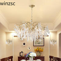 American country crystal Pendant Lights European style living room modern bedroom restaurant lamp candle iron lamps LU809182t107