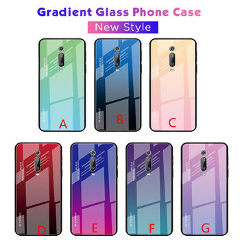 50pcs/lot Gradient Painted Tempered Glass Back Protector Phone Cover Case For Xiaomi Redmi K20 / K20 Pro