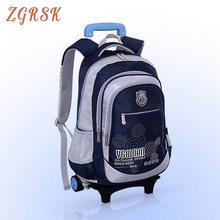 Children Nylon Removable Back Pack School Bags With 2 Wheels For Girls Kids Wheeled Backpack Bookbag Luggage Trolley Backpack все цены