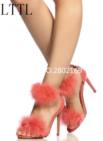 ФОТО 2017 Women Fur Sandals Red Suede Leather New Arrival Fashion High Thin Heels Open Toe Elegant Female Dress Sandals Back Zipper