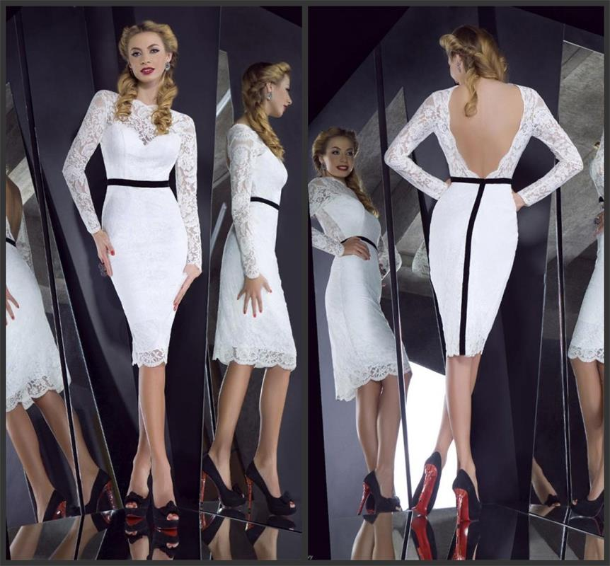 2019 White   Cocktail     Dresses   Long Sleeve Scoop Mermaid Short Womens Party   Dress   Formal Backless Vestido Social Curto