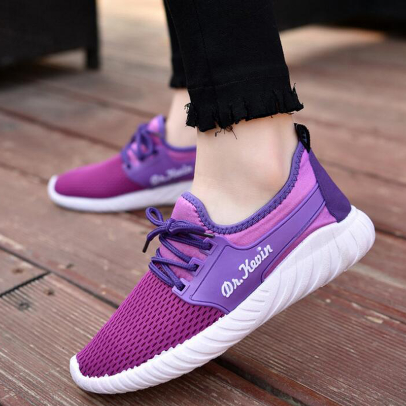 Students Summer Breathable Fashion Womens Girlish Casual Shoes Female Mesh Air Zapatillas Mujer Leisure Flat Lace Up Shoes T667