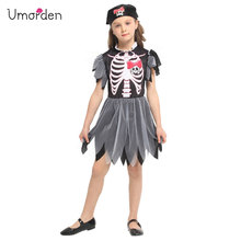 Umorden New Arrival Halloween Costumes for Girls Skull Skeleton Dress Black Pirate Costume Party Carnival Up Girl Kids