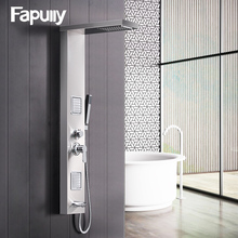 Fapully Rainfall Shower Panel Rain Brushed Nickel With Body Massage System Faucet with Jets Stainless Steel Hand Shower Set brushed nickel waterfall bath shower tub faucet one handle with hand shower brushed nickel finished