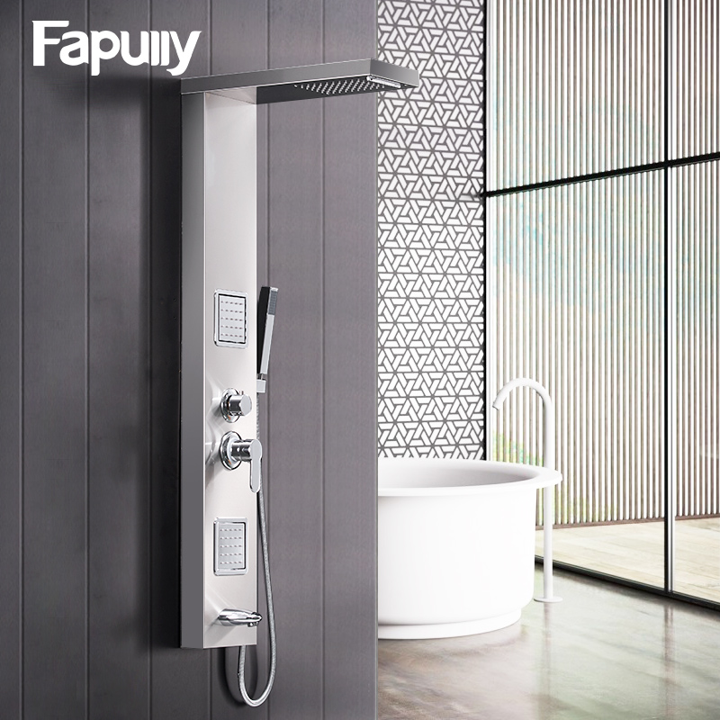 купить Fapully Rainfall Shower Panel Rain Brushed Nickel With Body Massage System Faucet with Jets Stainless Steel Hand Shower Set онлайн