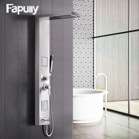 Fapully Rainfall Shower Panel Rain Brushed Nickel With Body Massage System Faucet with Jets 304 Stainless Steel Hand Shower Set