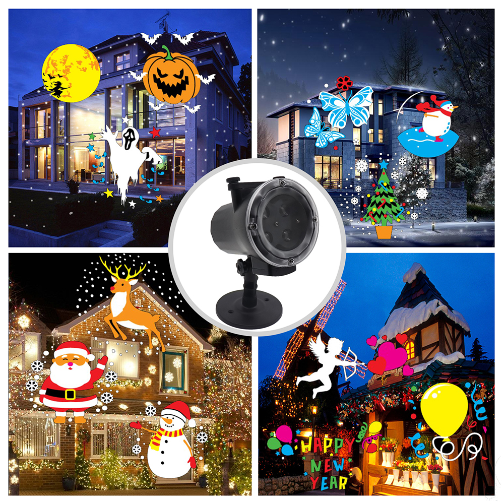 12 Pattern Slides Animated Projector Lamp Waterproof 4LED Stage Light Snow Film Projector Lighting Decoration Landscape Lamp