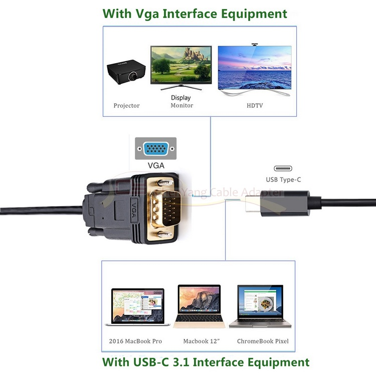 USB-C Tipo C USB 3.1 a VGA 1080p HDTV Cable de monitor 1.8m 6 pies, - Cables de computadora y conectores - foto 6