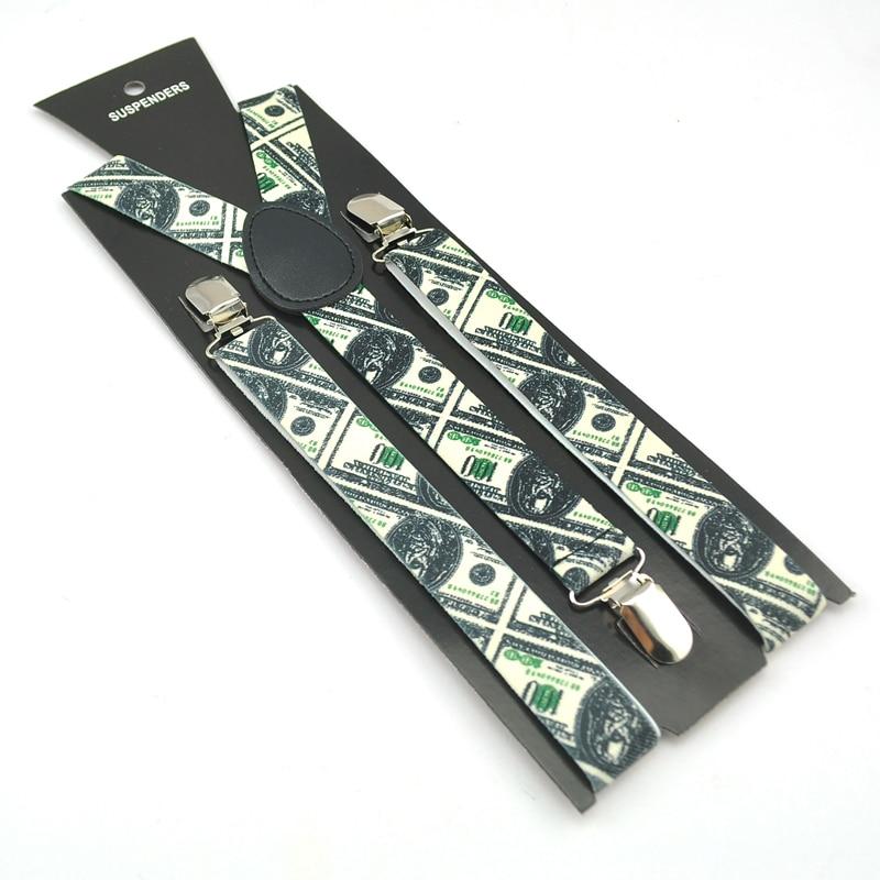 "2.5cm/1inch Wide Men Women Unisex""American US Dollar""Pattern Suspender Clip-on Braces Elastic Braces Suspender Y-back Suspenders"