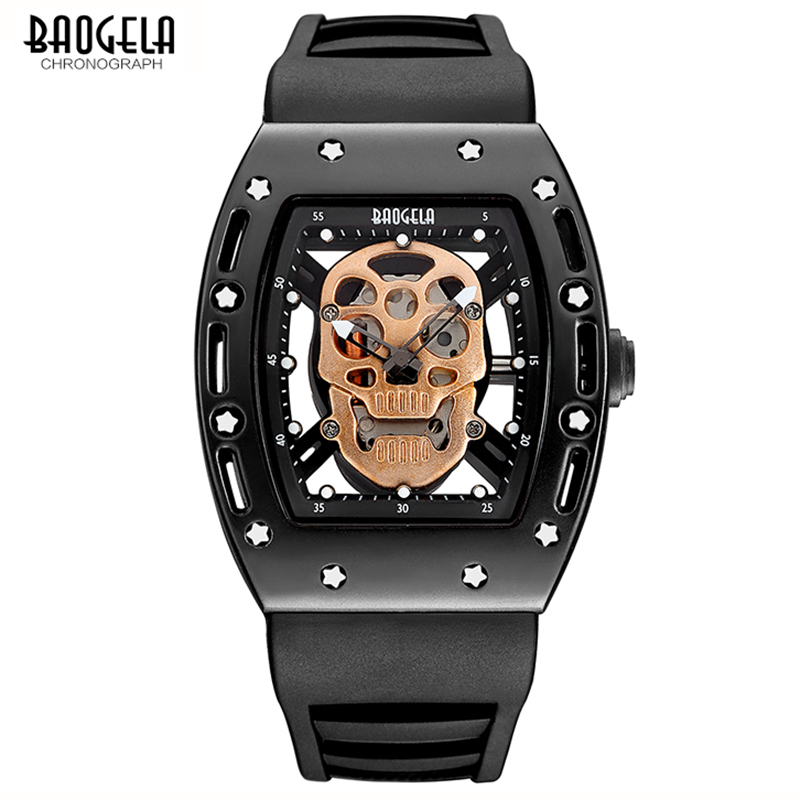 BAOGELA Luxury Brand New Design Pirate Skull Style Mens Quartz Watch Fashion Casual Military Sport Watches men Relogio Masculino