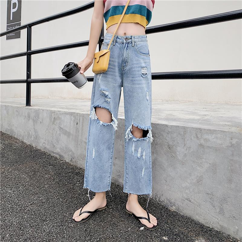 Harem Retro jeans woman Ripped Hole Cotton high waist Casual blue plus size fashion Ankle Length Straight denim pants for women(China)