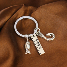 Charm Papa Ruler Fish Hook Pendants Keychain Family Dad Daddy Fathers Keyring Gifts For Women Men Jewelry Father's Day Presents