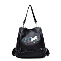 New Design Women Handbags Faux Leather Soft Backpack Embroidery Shoulder Bag Laptop Backpacks Large Capacity Girls