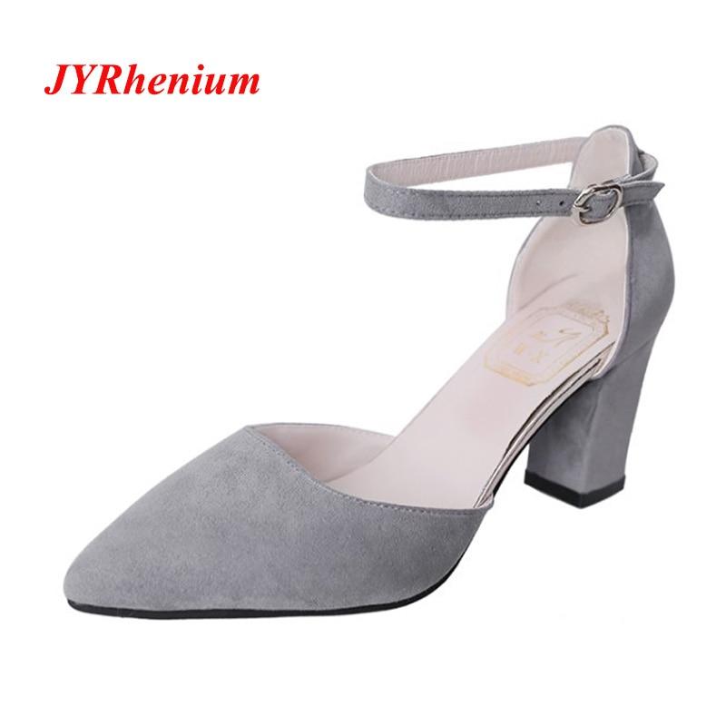 JYRhenium 2018 New Autumn Design Ladies High Heels Pointed toe Classic Women Pumps Thick Heels Dress Shoes Woman Plus Size 34-40 plus size textured pocket design dress page 3