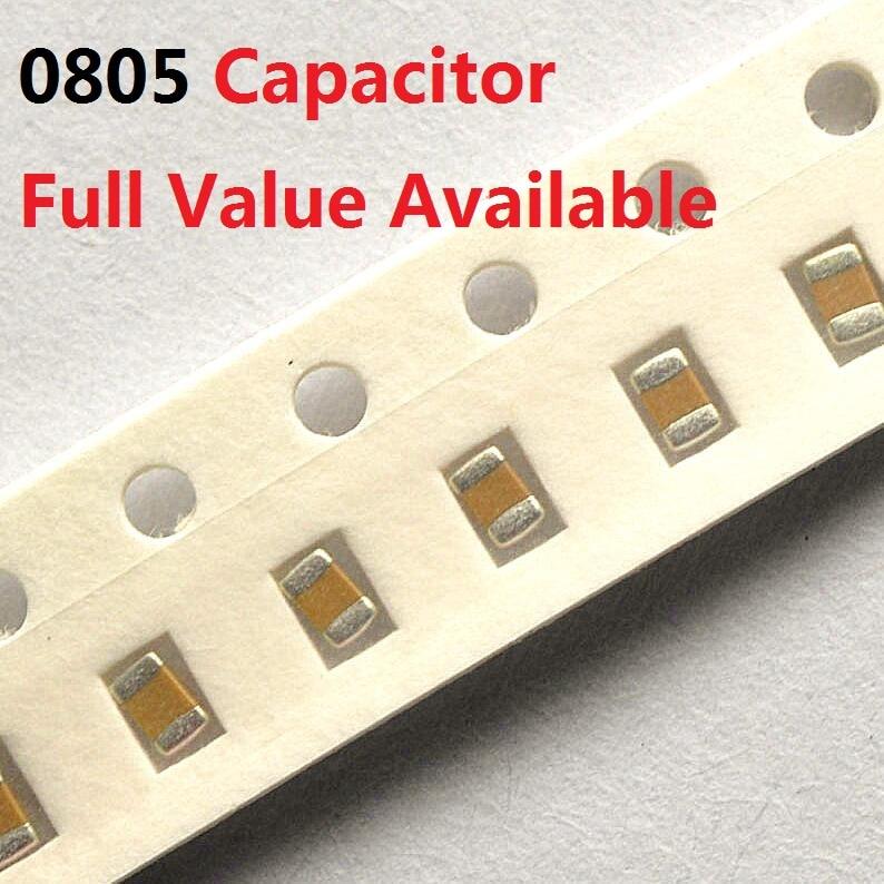 200PCS 0805 Ceramic Capacitor Kit 100NF 150NF 220NF 330NF 470NF 1UF 50V 104 154 224 334 474 105 K/M/Z 0.1/0.15/0.22/0.33/0.47/UF