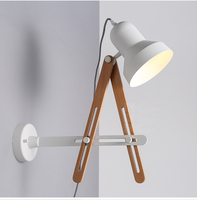 Nordic Style Contracted Wall Lights Personality Wooden Adjustable Wall Lamp Modern Creative Decoration Led Wall Light