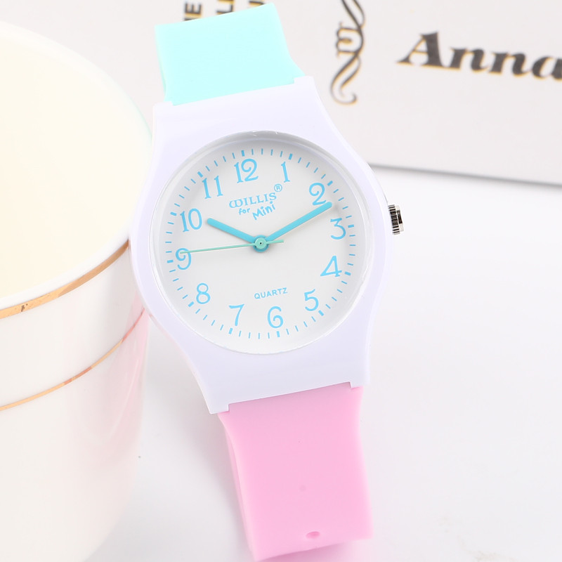Little Fresh Lovely Girl Student Watch Simple Numbers Colorful Jelly Watch Fashion boys Kids Small Dial Wristwatch Gift Clock