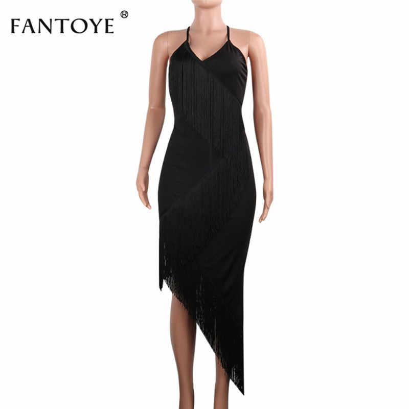 Женское вечернее платье с бахромой Fantoye, пикантное обтягивающее платье-макси на бретелях с v-образным воротником и открытой спиной, на весну