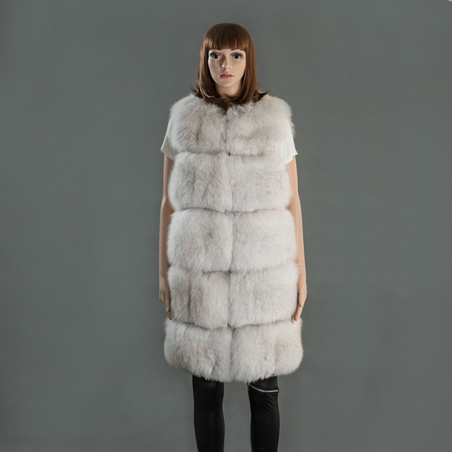 VR056 Genuine natural fox fur vests women real fur coat /jackets winter warm long style plus size wear