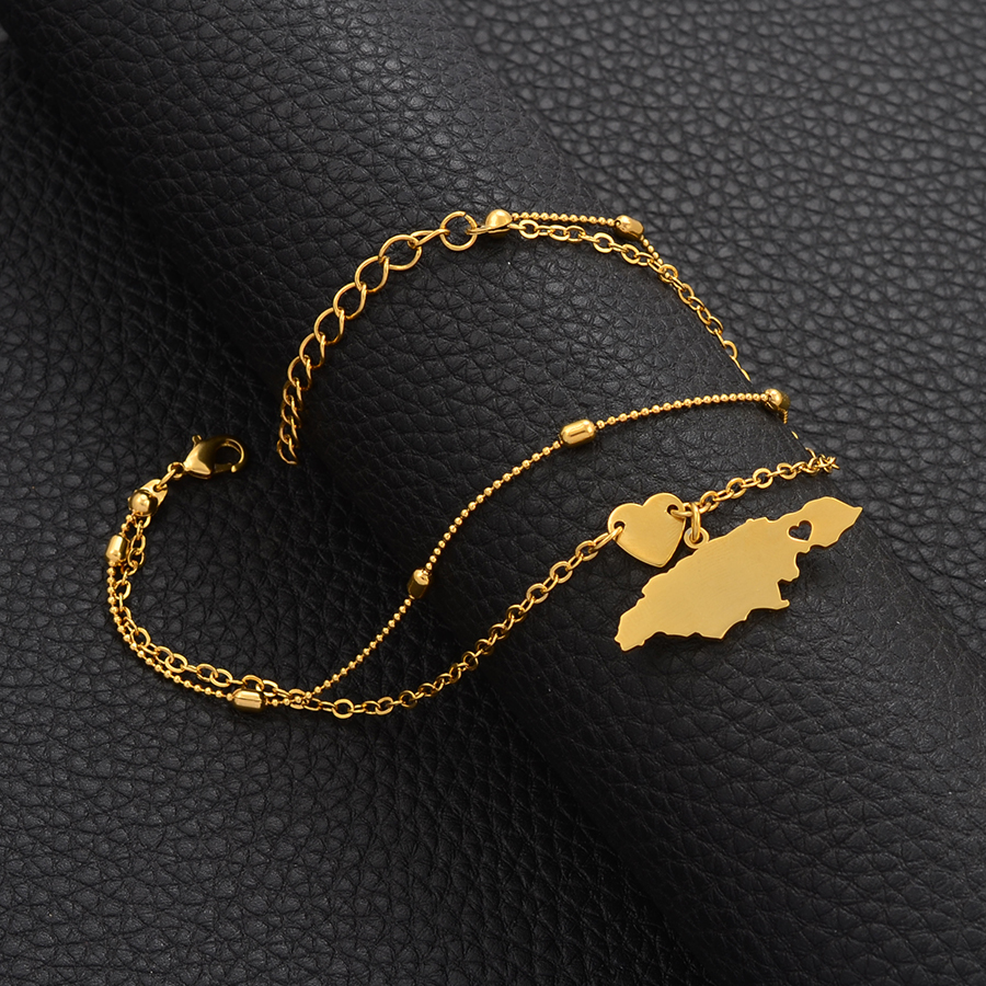 Anniyo (One Piece) 25cm+5cm Extender Chain /Jamaica Map Anklet for Women Girls Gold Color Jamaican Jewelry Foot Chains #209106