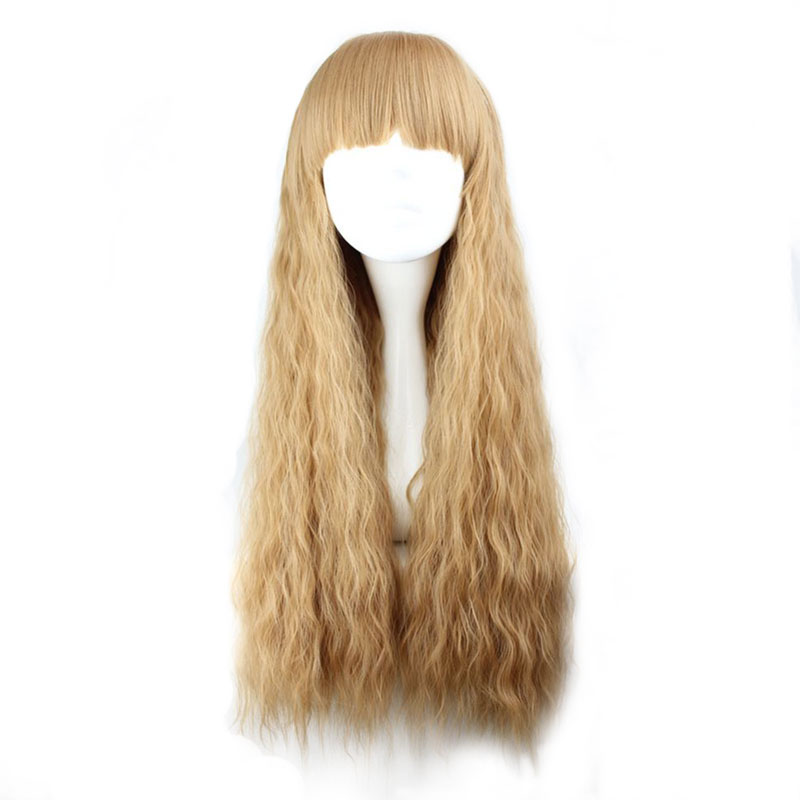 MCOSER 70cm Long Curly Light Brown Synthetic Corn rolls Cosplay Wig 100% High Temperature Fiber Hair 223A