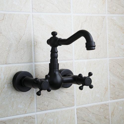 Wall Mount Oil Rubbed Black Bronze 97111 Bathroom Basin Sink Vessel Bathtub Torneira Tap Mixer Faucet Stream Spout
