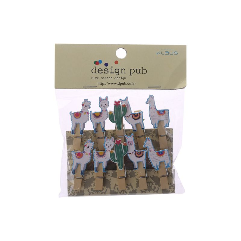 10Pcs/Set Colored Ethnic Alpaca And Cactus Printed Wooden Note Memo Photo Pegs Paper Tag Clips Holder DIY Craft With Hemp Rope - 3