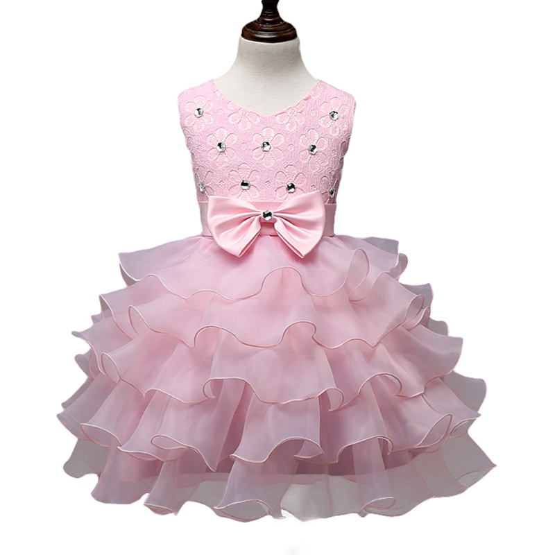 Kids Girls Wedding Dress Formal Bow Ball Gown Dresses Sleeveless Rhinestones Princess Party Frocks Pink Red For 3-8 Years GD37 children s clothing new 2016 sleeveless bow striped princess dress ball gown formal flower girls dresses