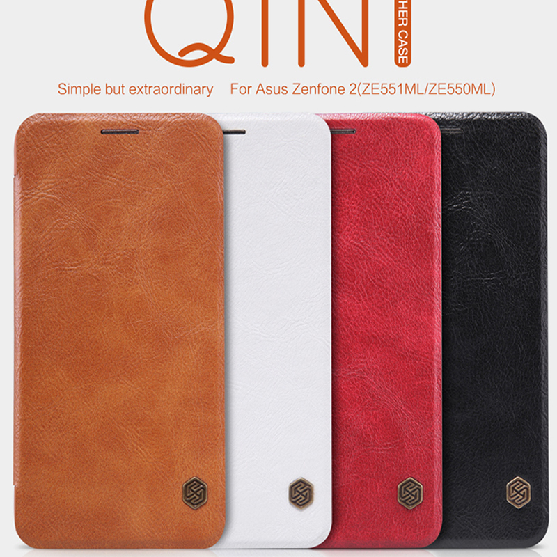 NILLKIN Qin Series Genuine wallet Leather Case cover For Asus Zenfone 2 ZE551ML ZE550ML 5.5 phone bags cases + screen protectors