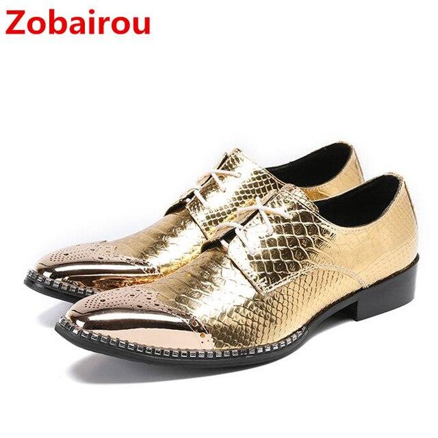 estilo de moda de 2019 online para la venta productos de calidad Zobairou Zapatos de vestir para Hombre oxford lujo dorados hombre zapatos  cuero genuino punta cuadrada con cordones formales mocasines