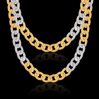 Yellow And White Mixed Gold Color Embossing Figaro Chain Long Necklace Women Men Jewelry Fashion Collares