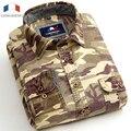Langmeng 100% Camuflaje camisa de Los Hombres de algodón Transpirable Camisa outwear ocasional de Combate Del Ejército Militar Camo mens ropa Meisai