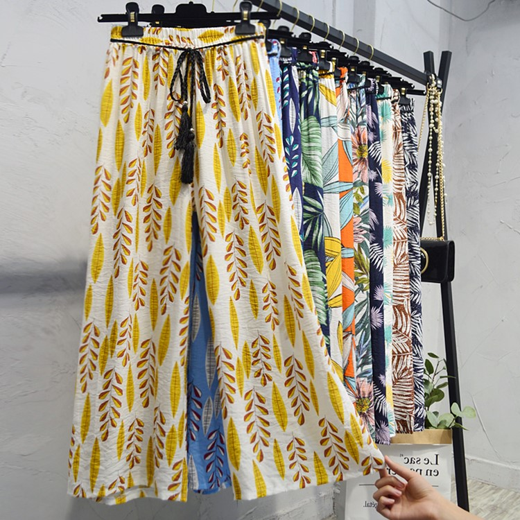 Wide-Leg-Pants Elastic-Waist Printed Floral-Leaves Hawaii-Style Cotton Womens Summer