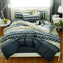 Classic bedding set 5 size grey blue flower bed linen 4pcs/set duvet cover set Pastoral bed sheet AB side duvet cover 2019 bed 4pcs flower print plaid bed sheet set