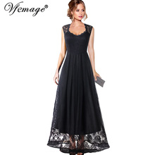 37d2fe1f04f Vfemage Women Vintage See Through Floral Lace Patchwork Keyhole Back Maxi  Dress