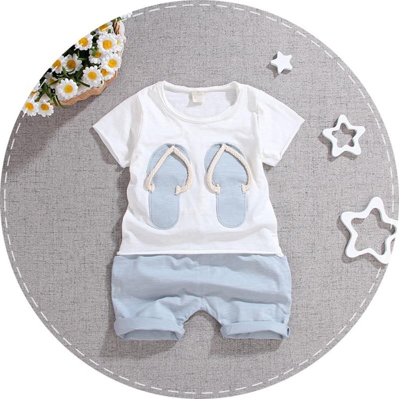 (2pcs/set) 2016 short T shirt children set baby Brand boy Girl Clothes set 100% Cotton slippers short Green Tee set e-31