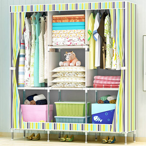 Image 5 - 3D schilderen Geweven stof kasten Stalen frame versterking Staande Organizer closet kast thuis slaapkamer meubels