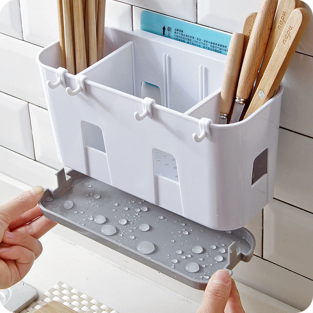 A1 Plastic chopsticks spoon holder chopsticks storage rack drain rack cage kitchen drain chopsticks wall mount wx8081140