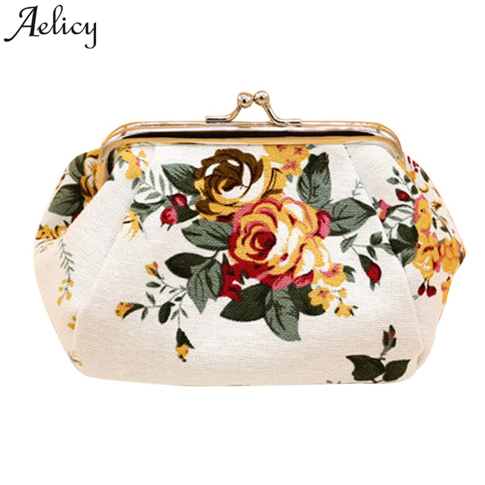 Aelicy New Womens Wallets and Purses Small Lady Retro Vintage Flower Coin Purses Girl Canvas Hasp Women's purses Key Packet vintage paris coin purses packet nostalgia canvas coin bag