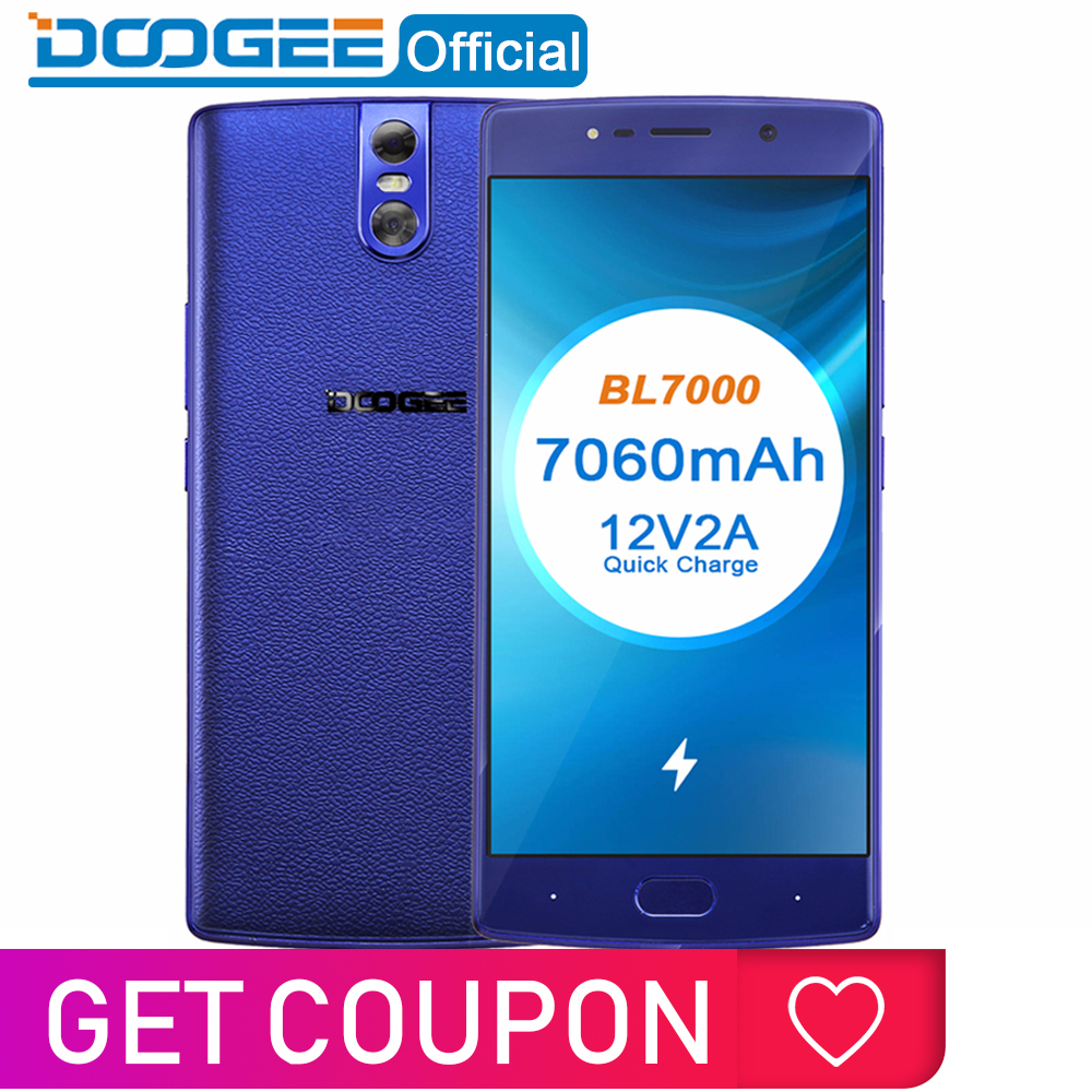 DOOGEE BL7000 7060mAh 12V2A Charge rapide 5.5 ''FHD MTK6750T Octa Core 4GB RAM 64GB ROM Smartphone double 13.0MP caméra Android 7.0