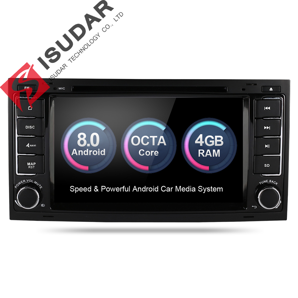 Isudar Car Multimedia Player 2 din Car Radio GPS Android 8.0 Stereo System For Volkswagen/Touareg Octa Core 4G RAM 32G ROM DVD