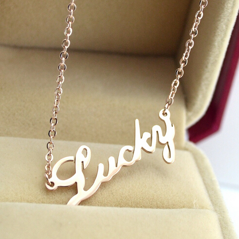 Sale summer style rose gold filled lucky letter necklaces pendants sale summer style rose gold filled lucky letter necklaces pendants elegant stainless steel women necklace accessories collar in pendant necklaces from mozeypictures Images