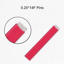50pcs 0.25 14F FLAT SHADING Microblading Tattoo Needles Permanent Makeup Manual Eyebrow Blade 14 PINS Microblade Needle