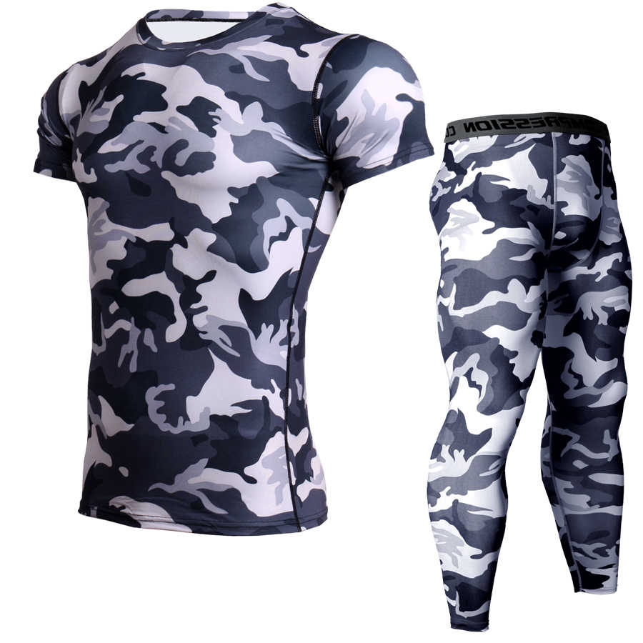 CANGHPGIN мужские костюмы для бега компрессионная одежда для бега набор мужской s спортивные костюмы Камуфляжный короткий рукав рубашка брюки MMA одежда для фитнеса