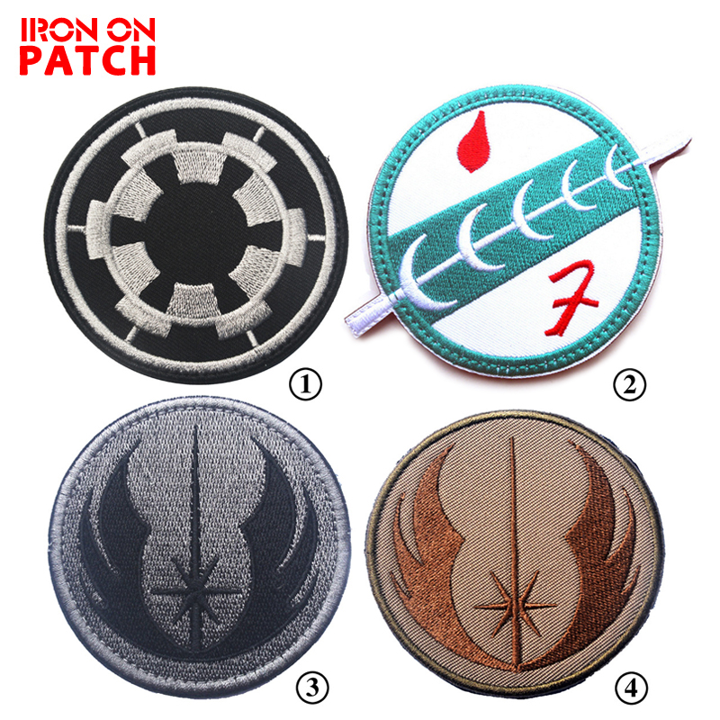 Star Wars Jedi Order Mandalorian Wave Bounty Hunter Boba Fett Emblem Patches Hook & Loop Badge For Clothing Embroidered Patch